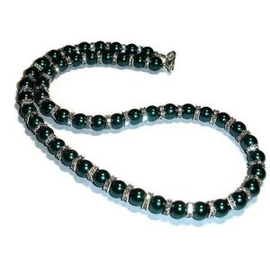 Teal Pearl and Swarovski Crystal necklace